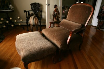 Leopard Chair and Ottoman