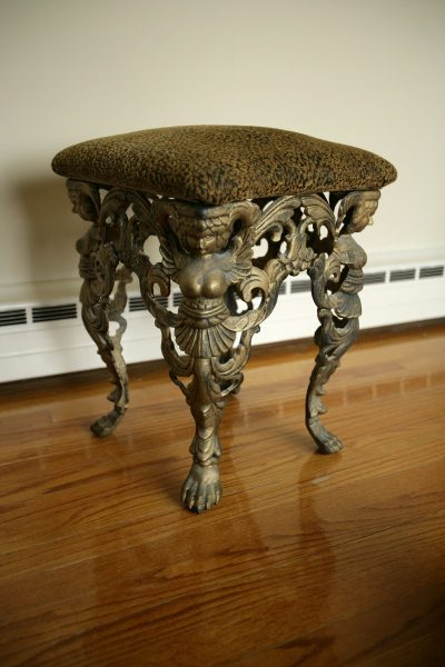 Antique Leopard Cast Iron Stool