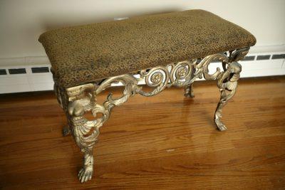 Antique Leopard Cast Iron Stool